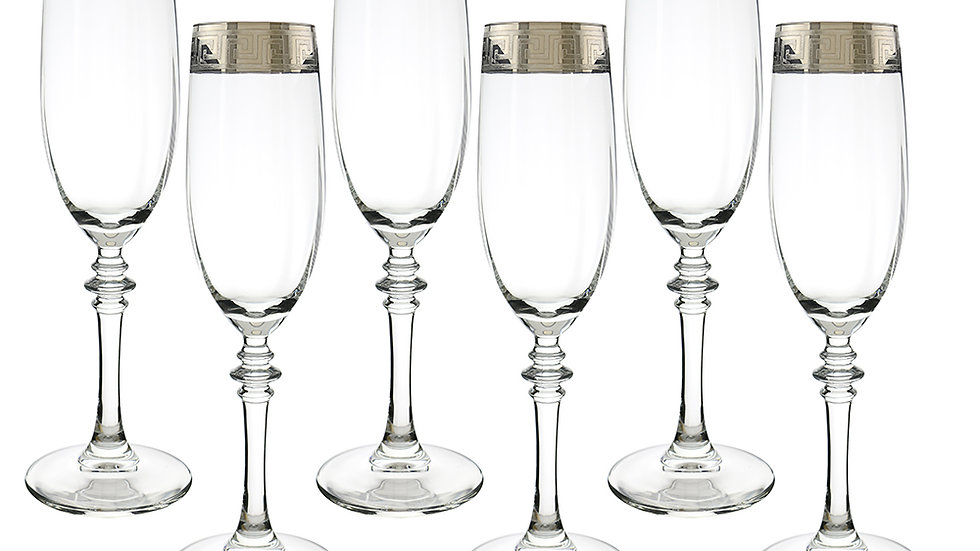 "SILVER RIBBON 6-PC SET OF 9"" FLUTE GLASSES"