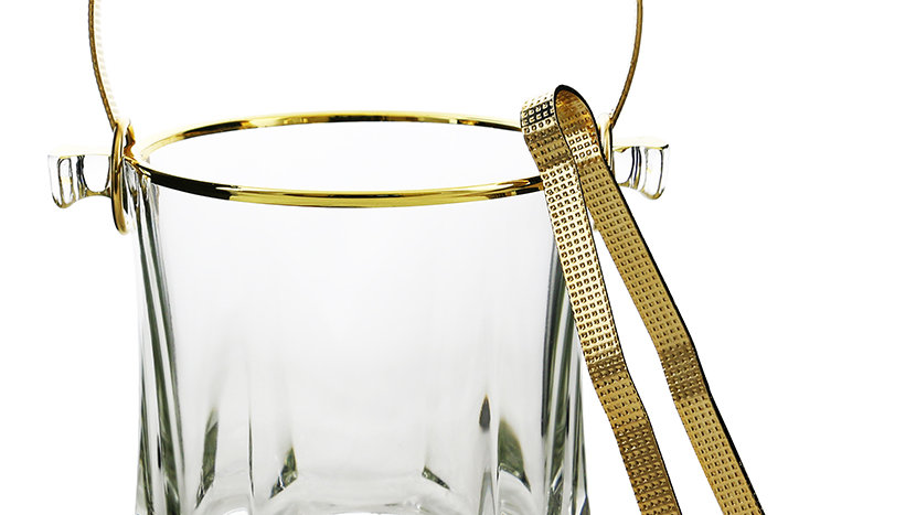 "GOLD RIM 5"" ICE BUCKET W/ HANDLE & ICE PICK"