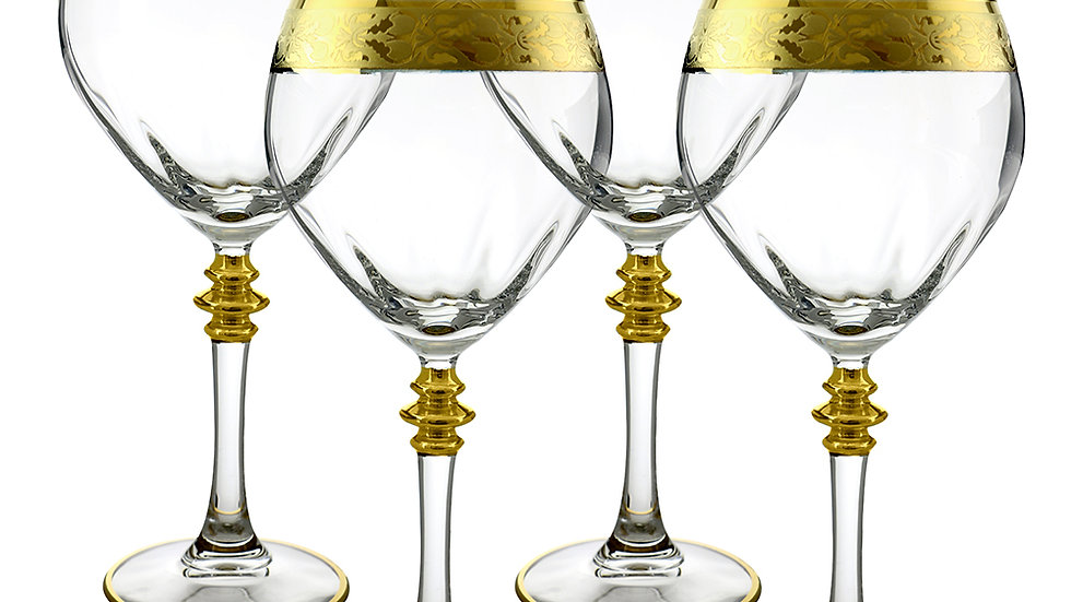 "GOLD RIBBON DESIGN 4-PC SET OF 8"" WINE GLASS"