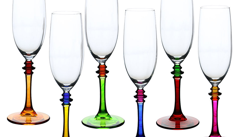 6PC MULTICOLOR FLUTE GLASSES