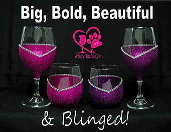 Winey Bitches Co Blinged Wine Glasses