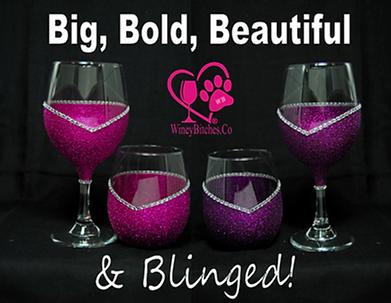 Winey Bitches Blinged Wine Glasses