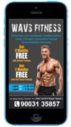 Express app  Gym Fitness visual text promotions sample Platinum Edge Media