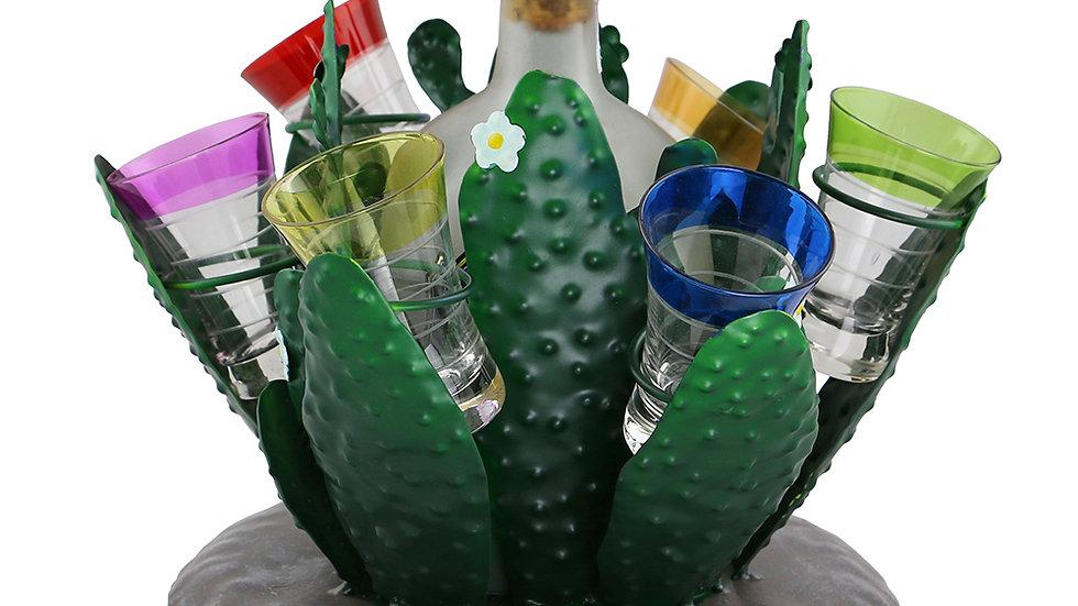 10X9 CACTUS BOTTLE & SHOT GLASS HOLDER