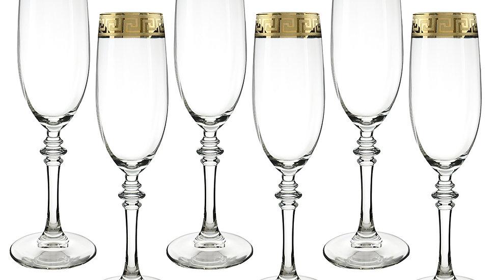 """GOLD RIBBON 6-PC SET OF 9"""" FLUTE GLASSES"""