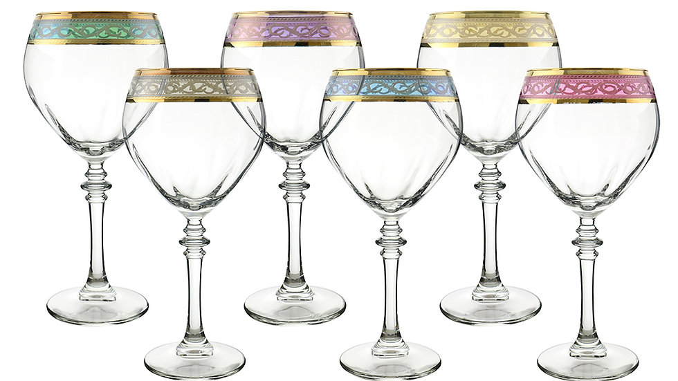 "6-PC SET OF MULTICOLOR 8"" WINE GLASSES"