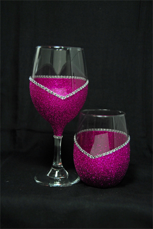 """T's Convertable """"Blinged"""" Glassware"""