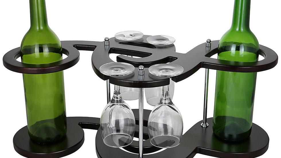 8X20X10 MUSICAL KEY SHAPED 2 WINE BOTTLE & 4 GLASS HOLDER