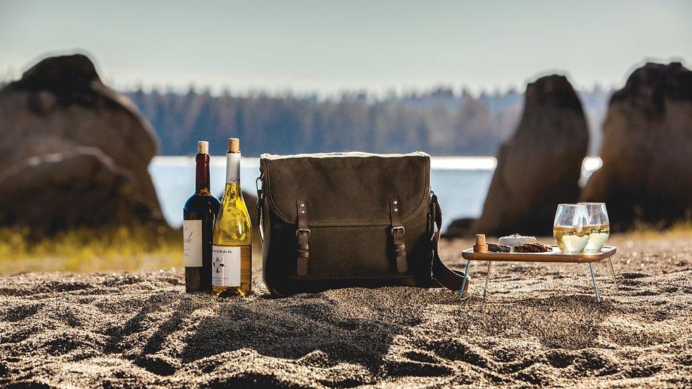 ADVENTURE WINE TOTE – KHAKI/BROWN