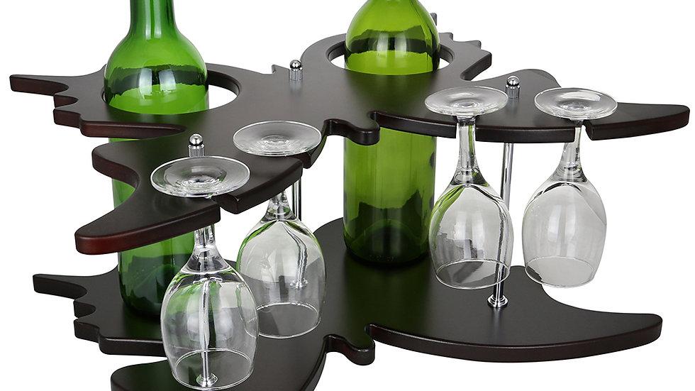 8X17X12 BUTTERFLY SHAPED 2 WINE BOTTLE & 4 GLASS HOLDER