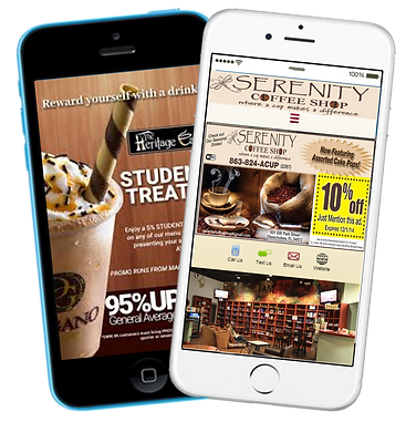 Express app Coffee shop visual text promotions sample Platinum Edge Media