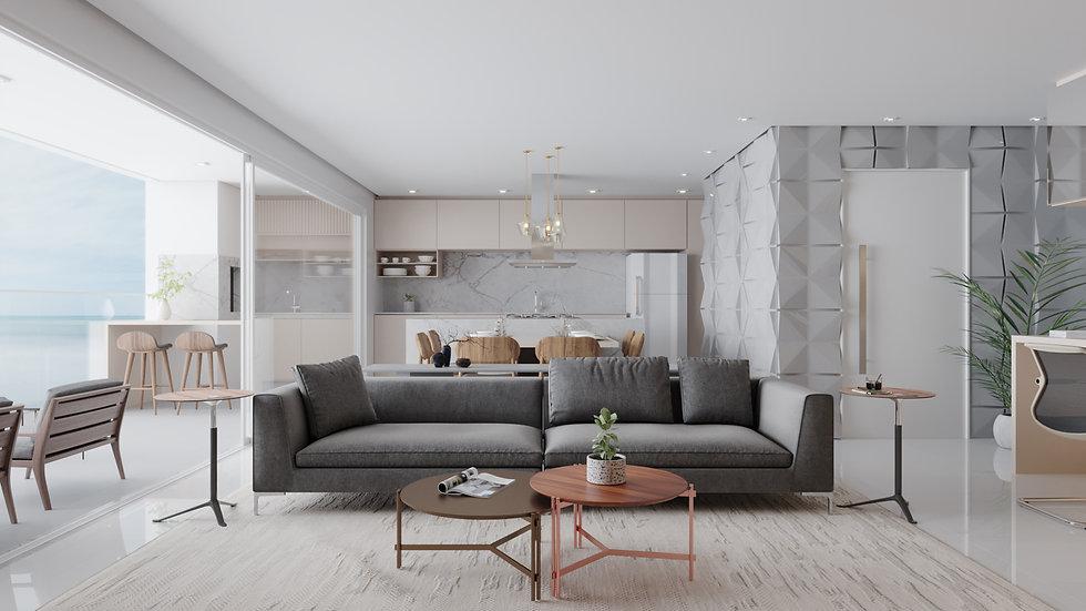 Imagem 3D de living em apartamento