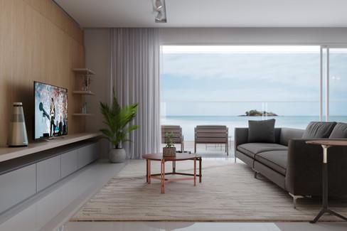 Sala de estar no litoral