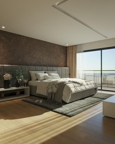 Imagem 3D de suíte de apartamento