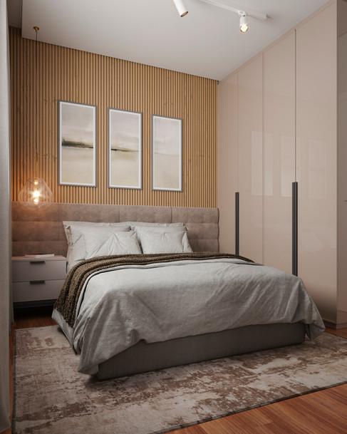 Imagem 3D de dormitório de casal