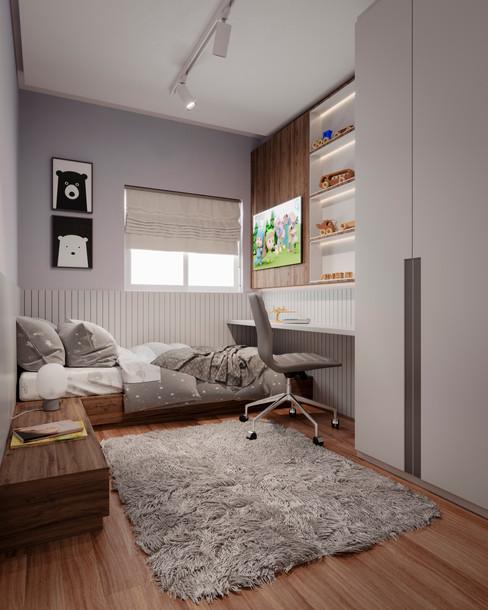 Imagem 3D de dormitório