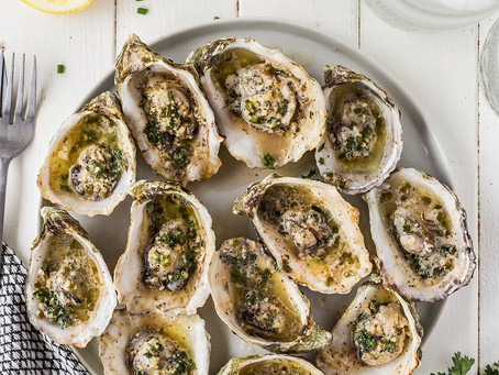 Roasted Garlic Oysters + Half Shell