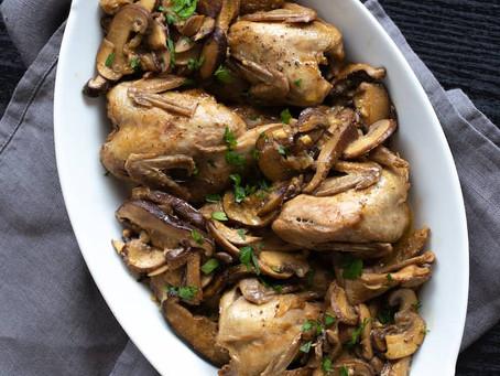 Braised Quail + Mushrooms
