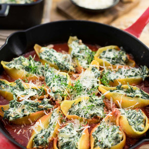 Spinach Stuffed Pasta + Ricotta Cheese