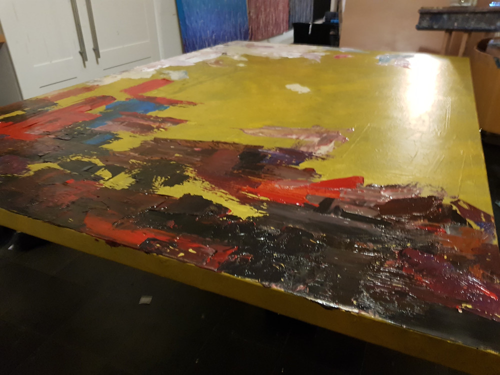 starting a painting large abstract texture