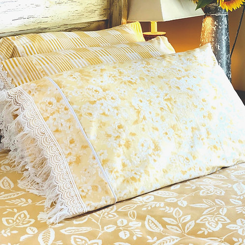 Romantic Floral Pillowcases with Lace Trim-Pair