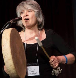 Cheryl L'Hirondelle singing - voice and handdrum