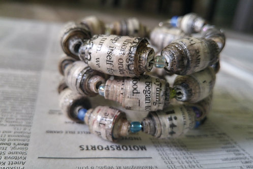 ReadAllOver Newspaper Bead Cuff