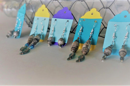 ReadAllOver Newspaper Bead Earrings with Feather