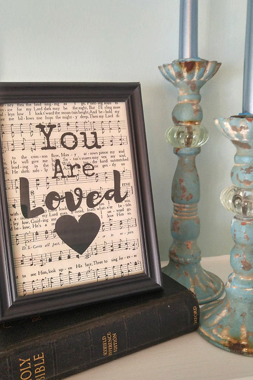 """""""You Are Loved"""" Hymnal Wall Art"""