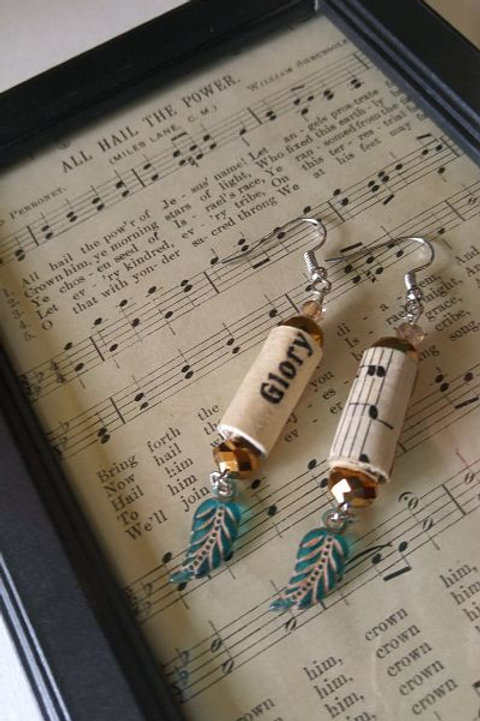 Hymn Earrings with Feather Charm
