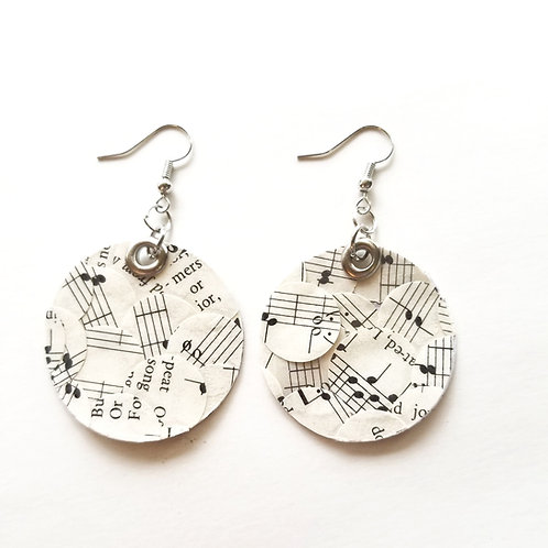 Small Hymn Collage Circle Earrings