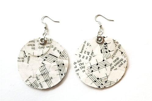 Large Hymn Collage Circle Earrings