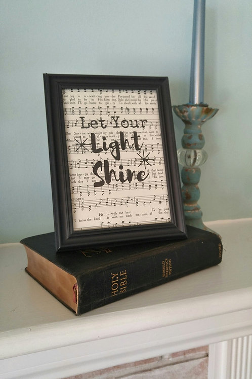 """Let Your Light Shine"" Hymnal Art Print"