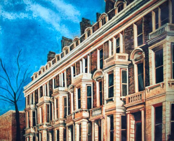 Row houses on backing flat