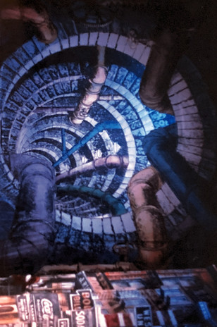 """""""Guys and Dolls"""" sewer backdrop"""