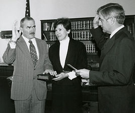 Judge Pregerson nominated by Jimmy Carter to 9th Circuit Court and swarn in here by VP Walter Mondale