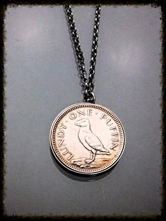 Vintage Puffin Coin Pendant (front)