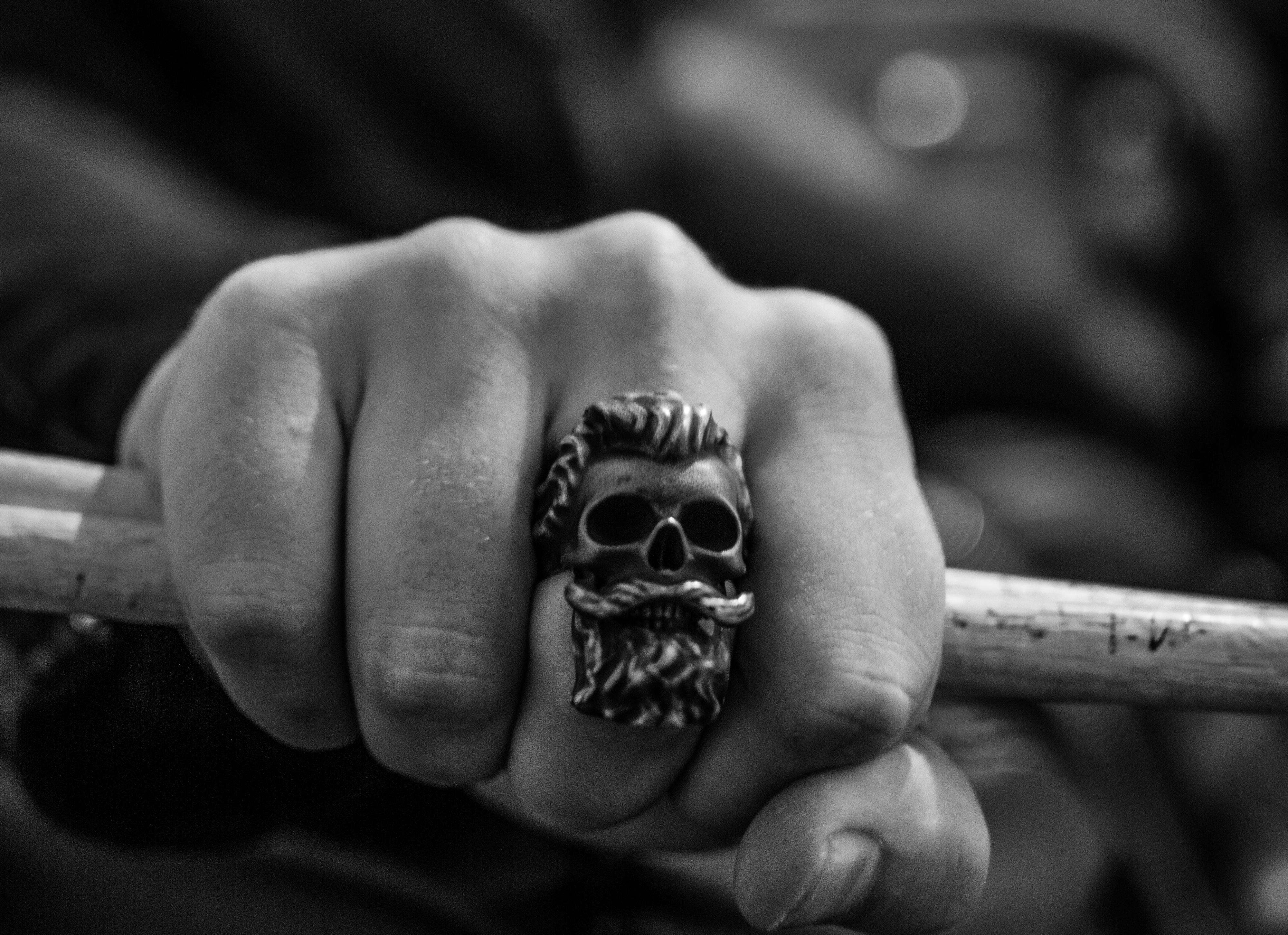 Bearded skull ring