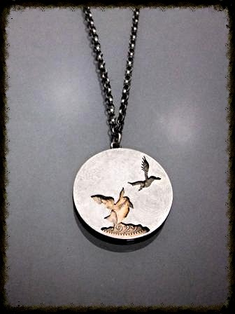 Vintage Puffin Coin Pendant (back)