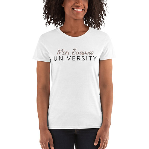 Mom Business University T-shirt (White with Pink Letters)