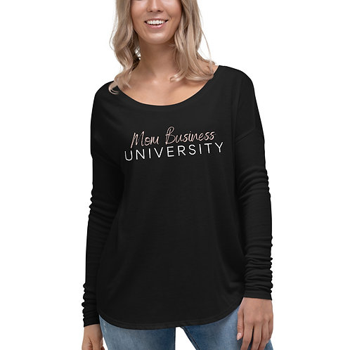 Mom Business University Ladies' Long Sleeve Tee (Black)