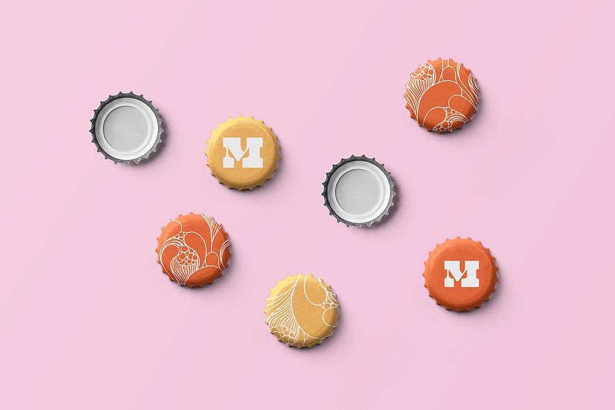 Orange and yellow beer caps.