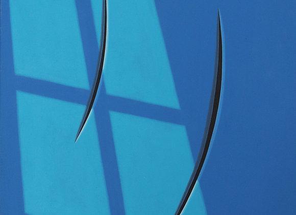 Spazio concettuale blu e finestra