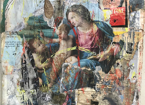 Jeunesse est faite pour le bonheur d'après La Madone d'Alba du peintre Raphaël