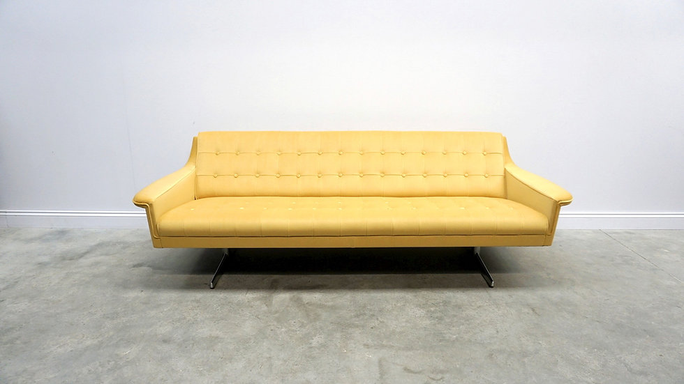 Mid Century Chrome Sofa in Golden Sand Velvet, Denmark 1960