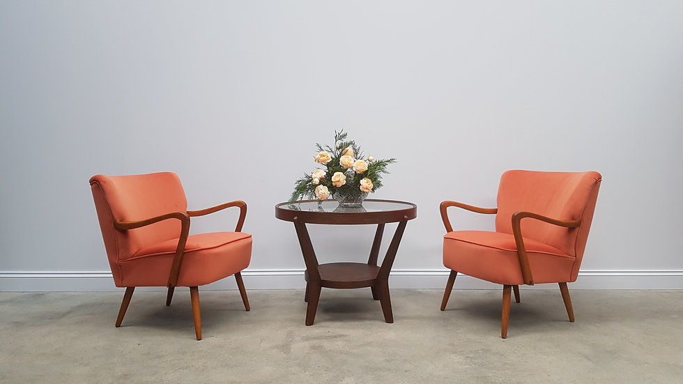Pair of Mid Century Cocktail, Club Chairs, in Orange Velvet, 1960