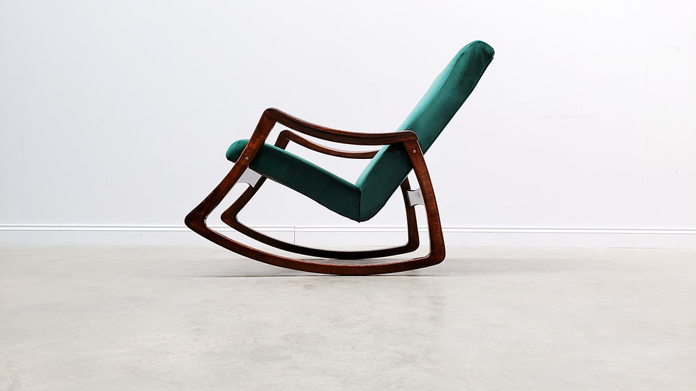 1960 Rocking Chair by TON in Green Velvet