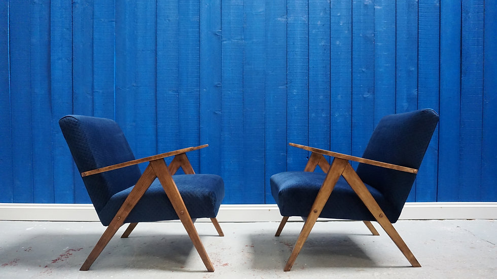 Mid Century Lounge Chairs in Navy Blue Velvet, Modern Vintage Classic Design