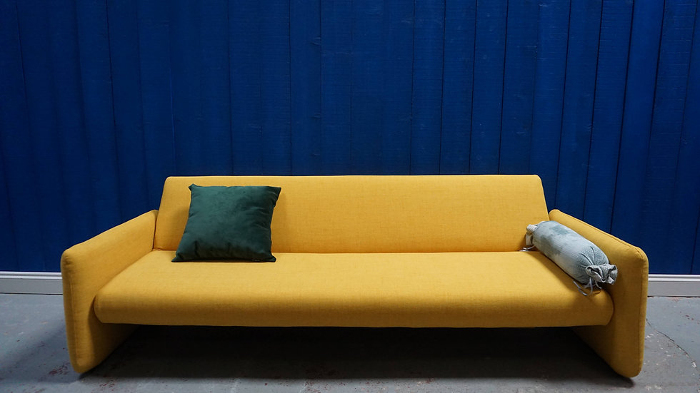 Mid Century Modernist  3 Seat Sofa Bed in Yellow, 1960's