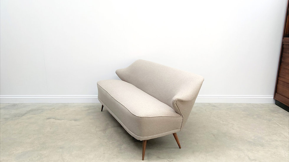 Mid Century Scandinavian 2 Seat Sofa in Grey Tweed, 1960's